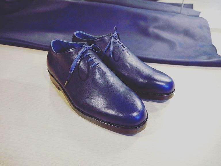スクモレザー 藍色 青い革で作った靴